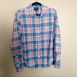 J.Crew Blue and Red Plaid Flannel Slim Fit